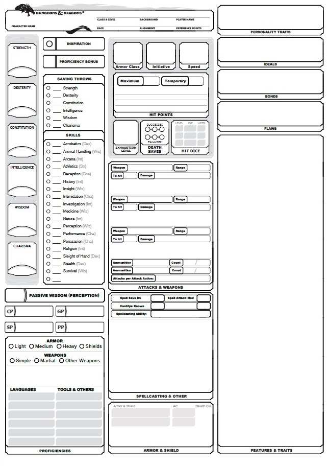 Fifth Edition Dnd Character Sheet Pdf