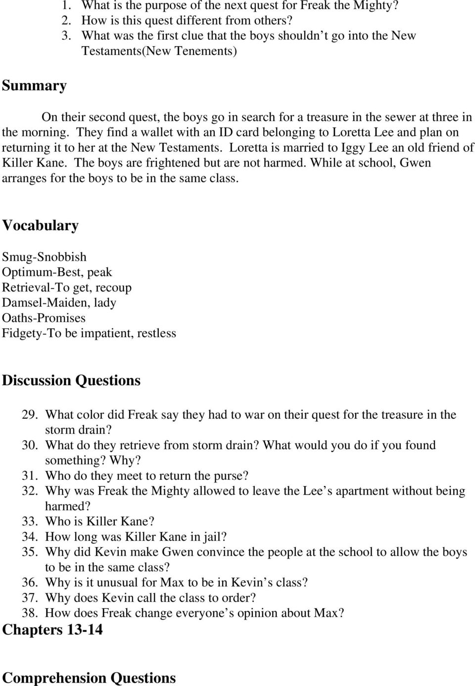 Freak The Mighty Pdf Answers