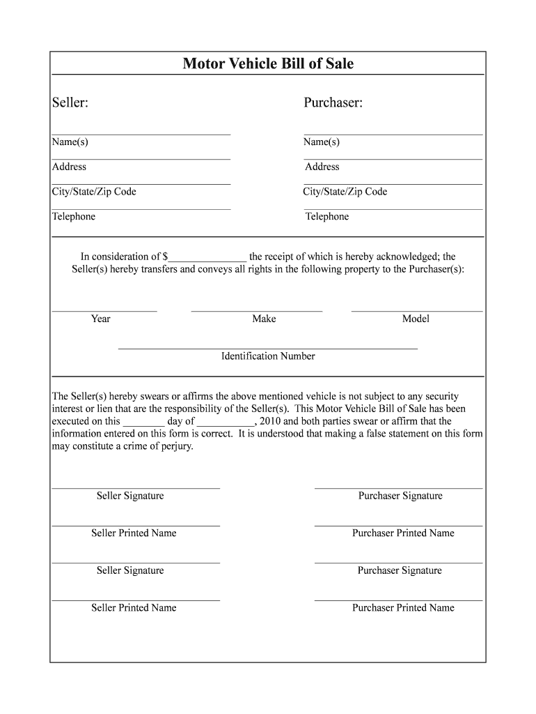 Free Vehicle Bill Of Sale Template Fillable Pdf