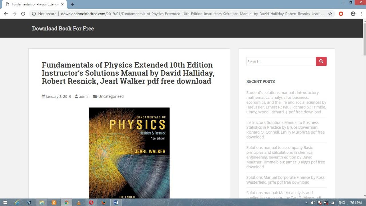 Fundamentals Of Physics 10th Edition Pdf Solutions