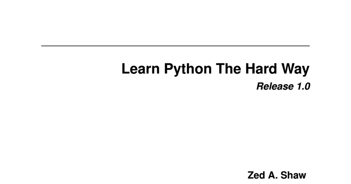 Learn Python The Hard Way Pdf Drive