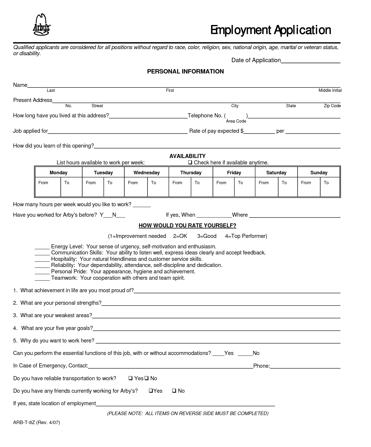 Mcdonalds Application Form Pdf