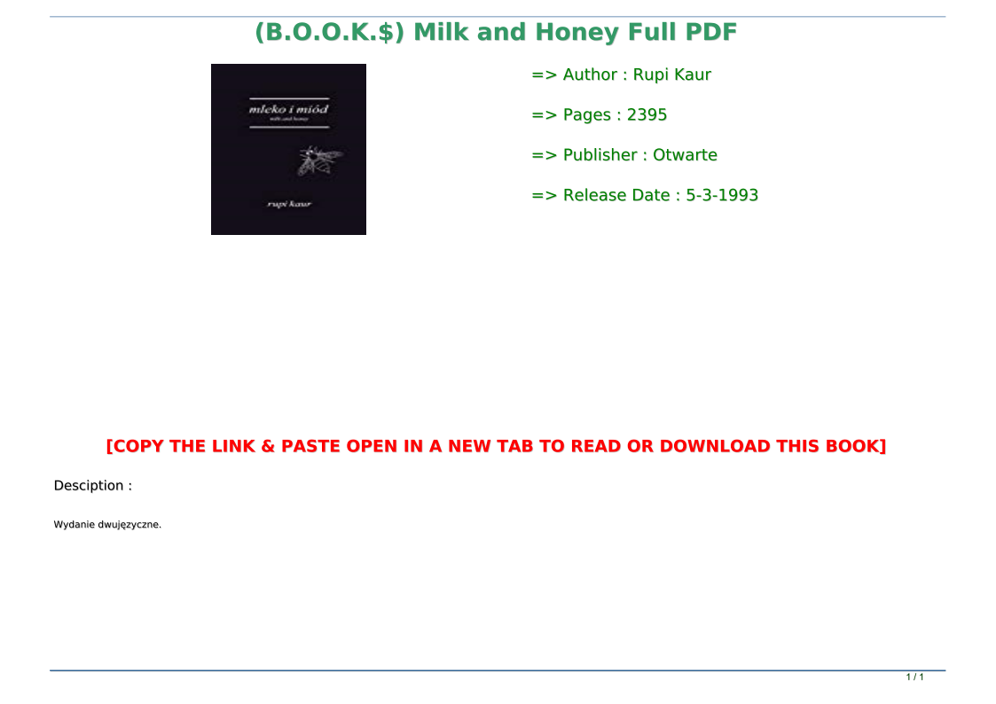 Milk And Honey Book Pdf