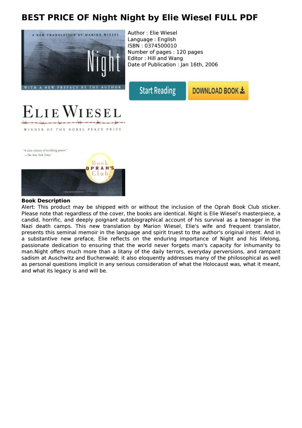 Night Elie Wiesel Pdf