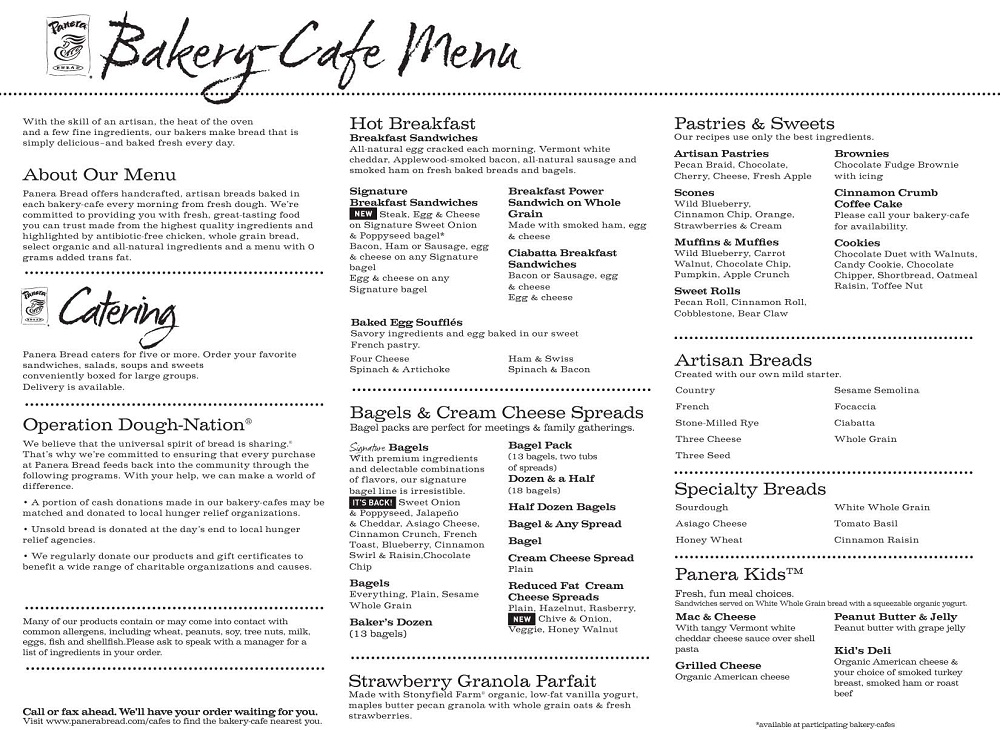 Panera Bread Menu Pdf