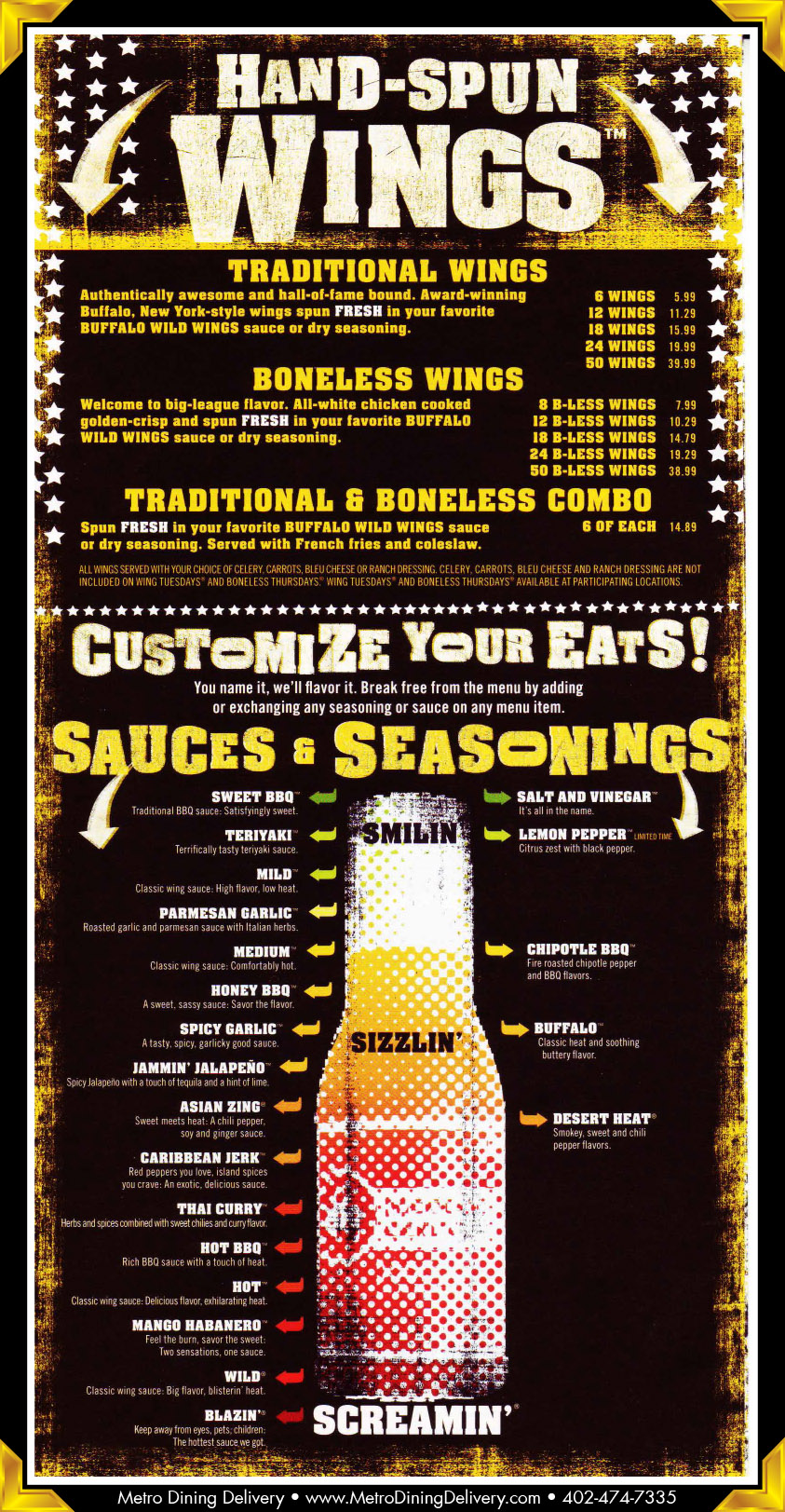 Pdf Boneless Menu Buffalo Wild Wings Menu