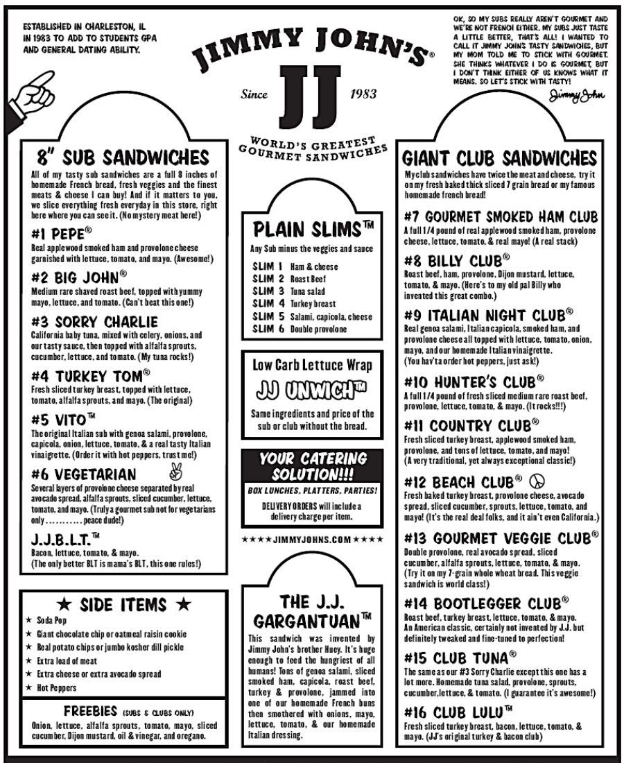 Pdf Jimmy Johns Menu With Prices