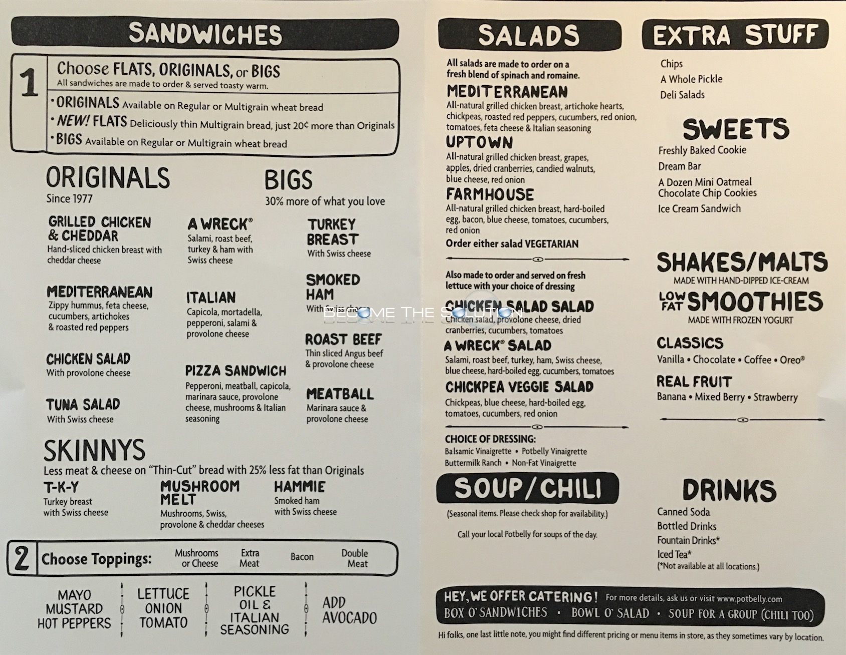 Potbelly Sandwich Potbelly Menu Pdf