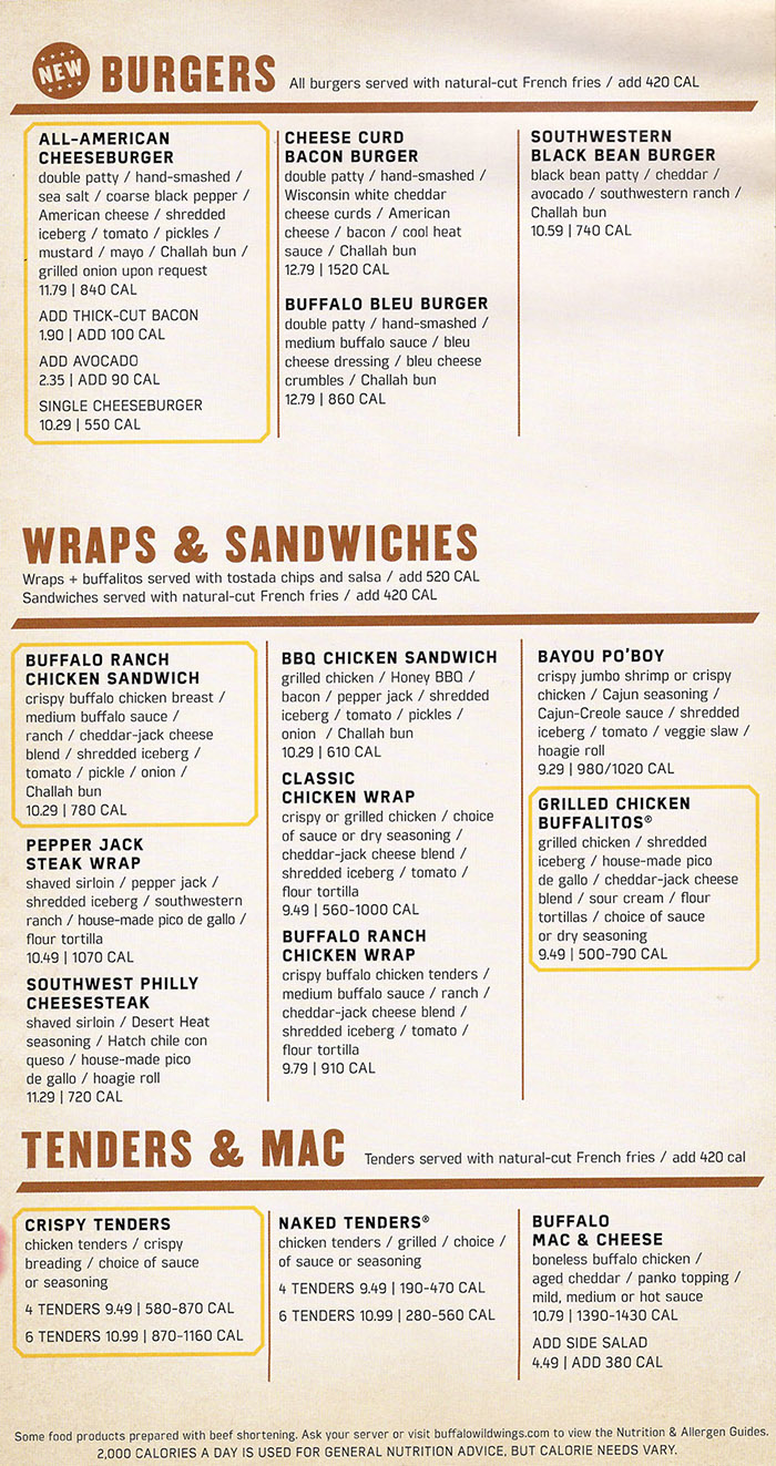 Printable Buffalo Wild Wings Menu Pdf