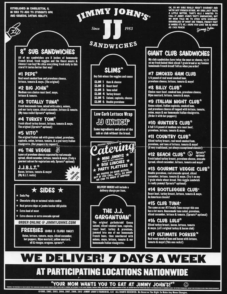 Jimmy Johns Order Form Pdf New Jimmy Johns Printable Menu Beautiful 29 Best Food Truck