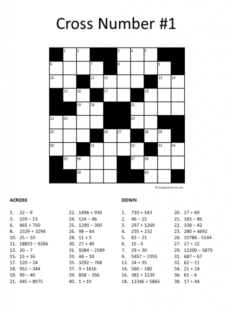 Printable Math Crossword Puzzles Pdf