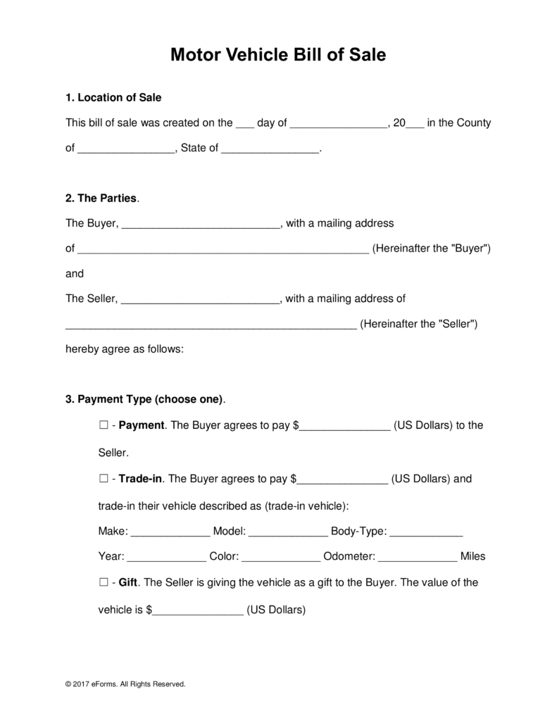 Printable Motor Vehicle Vehicle Bill Of Sale Template Fillable Pdf