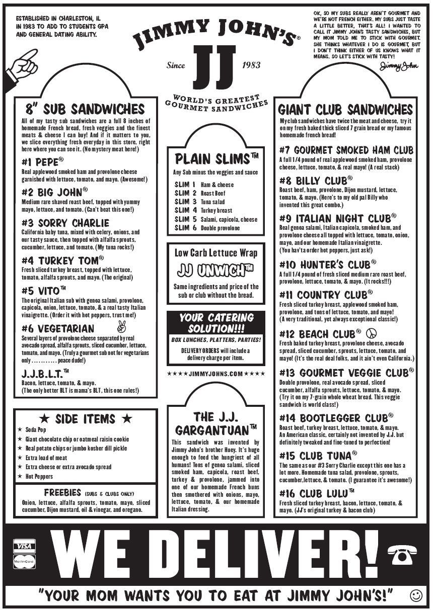 Printable Print Jimmy Johns Menu Pdf