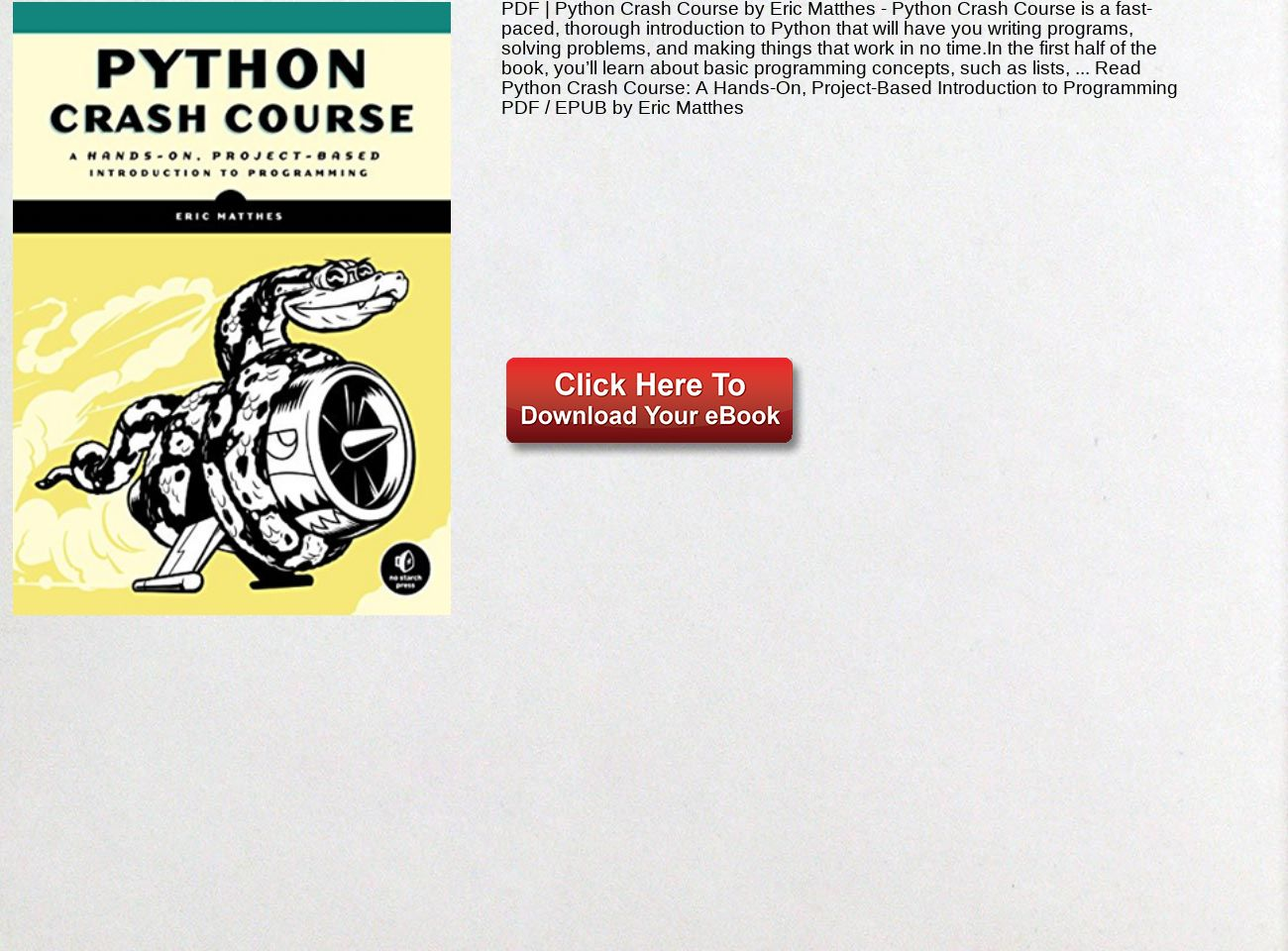 Python Crash Course Eric Matthes Pdf