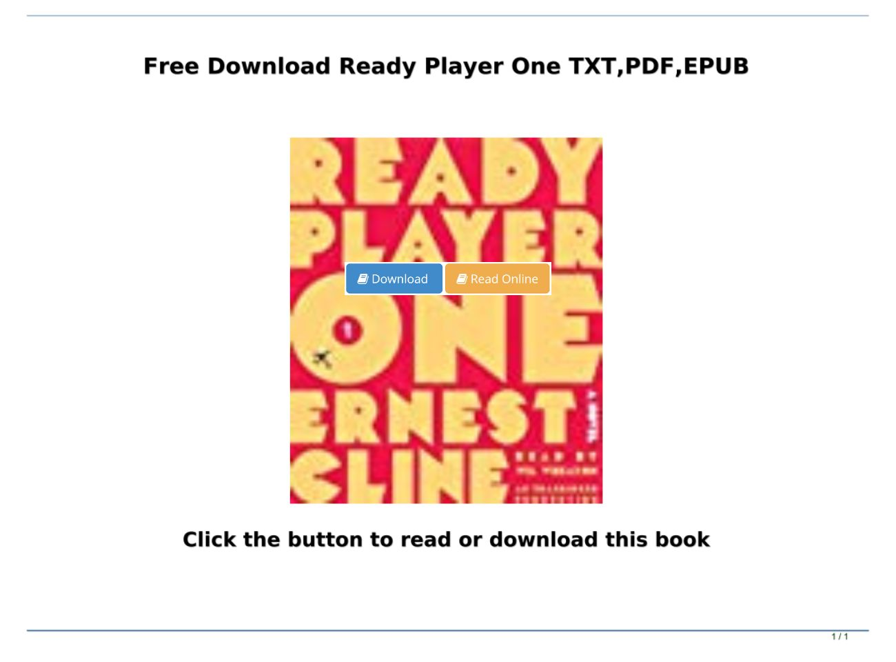 Ready Player One Pdf Free