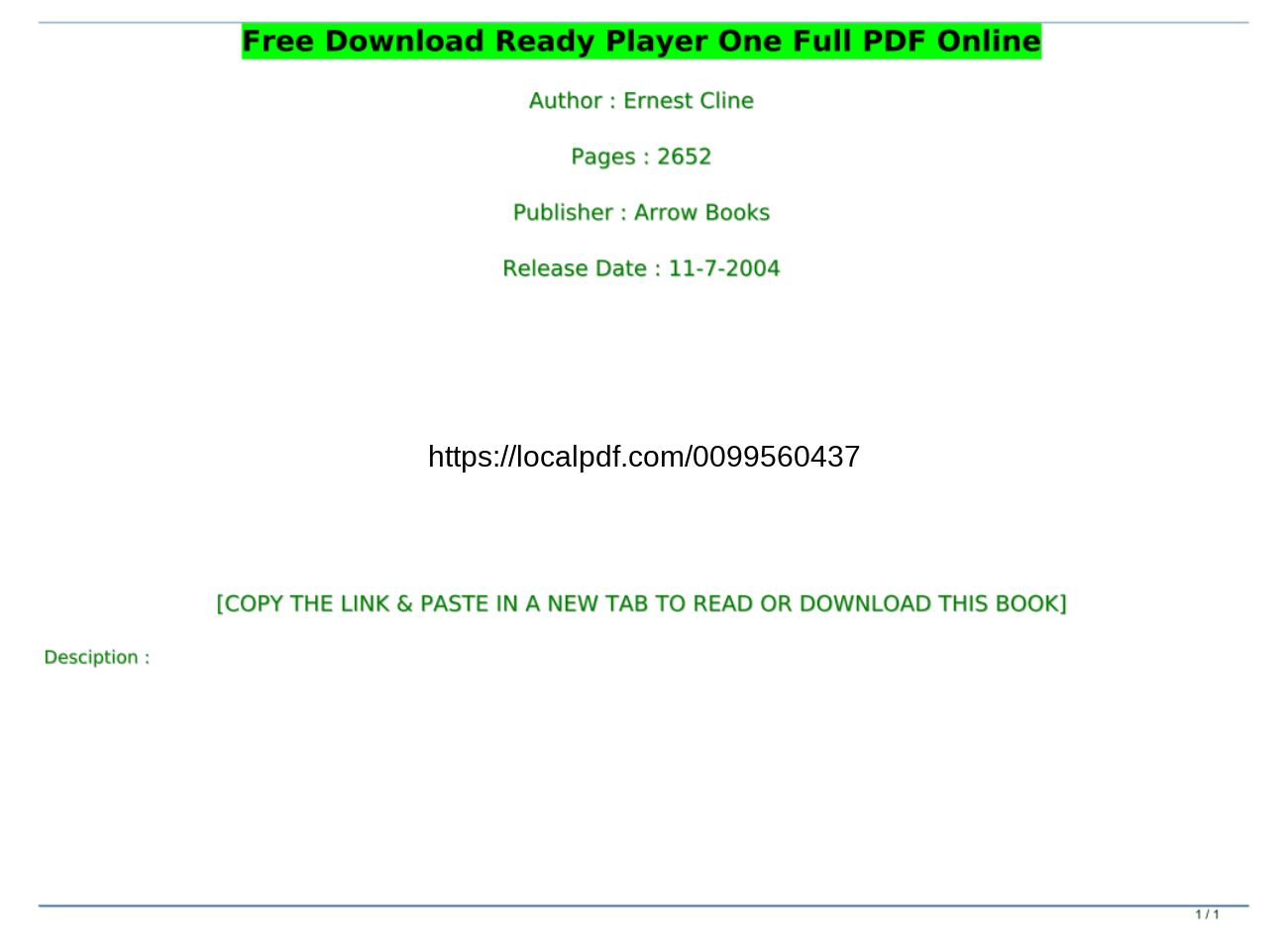 Ready Player One Pdf Online Free Download