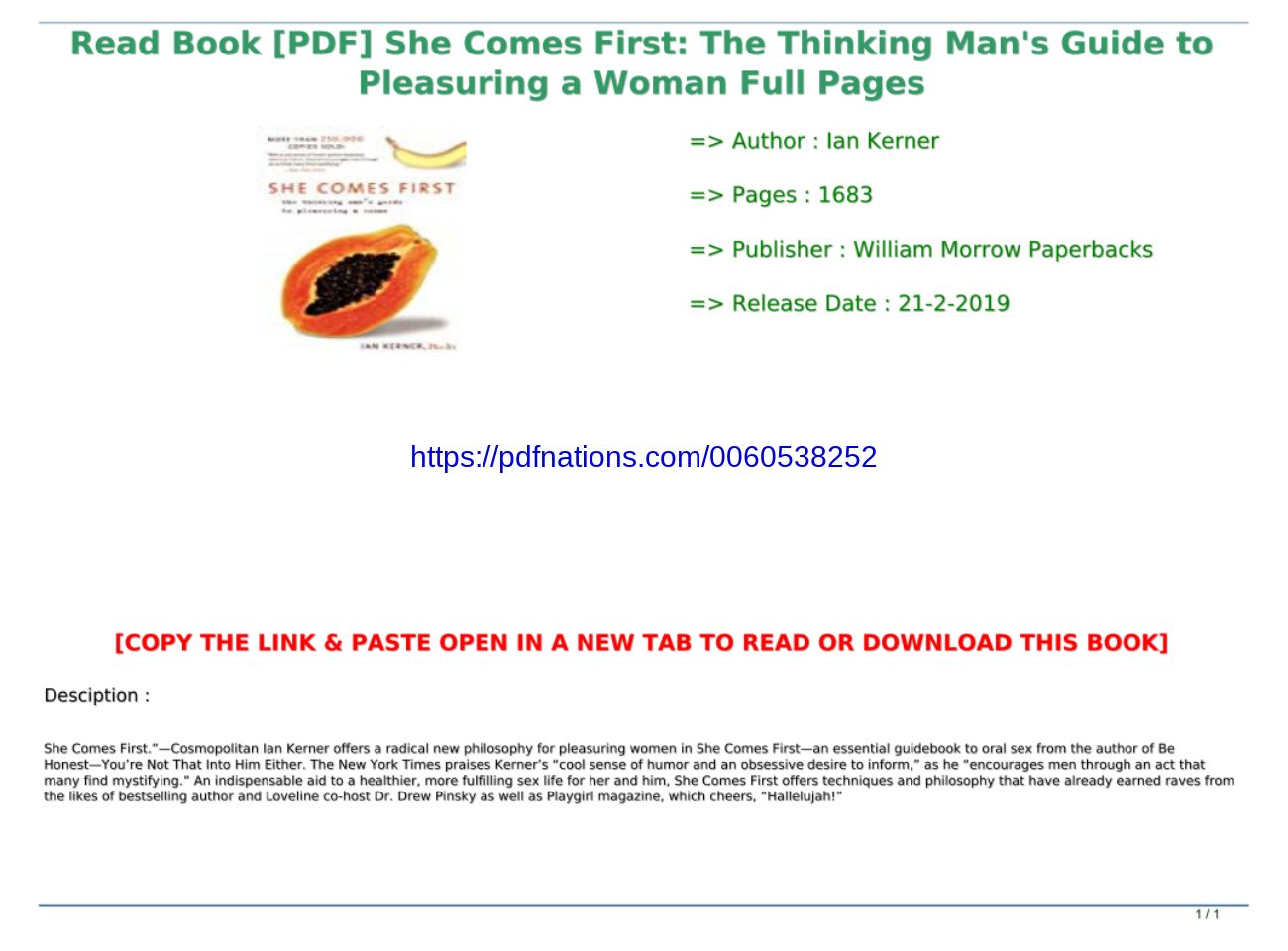 She Comes First Book Pdf