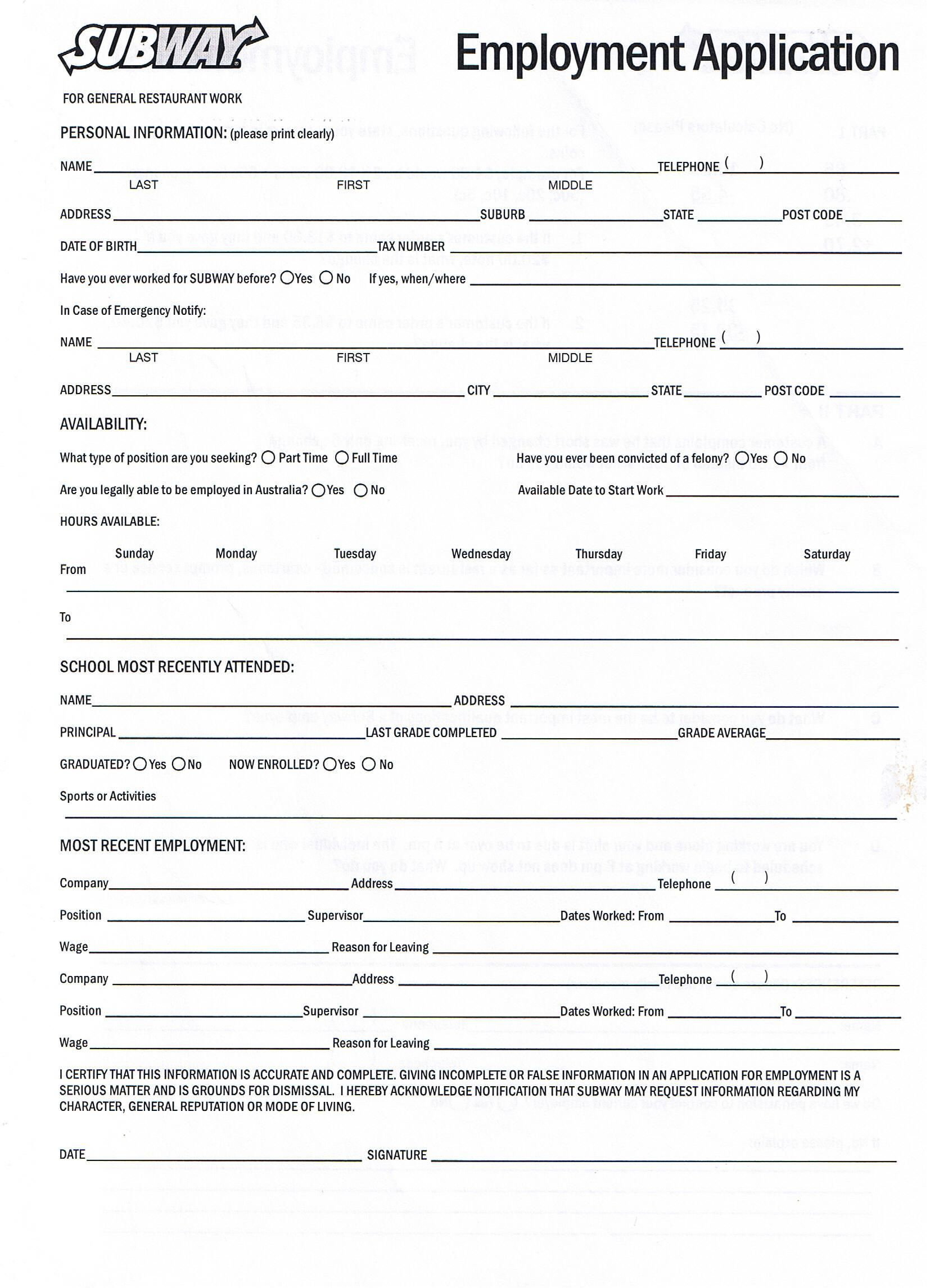 Subway Employment Application Pdf