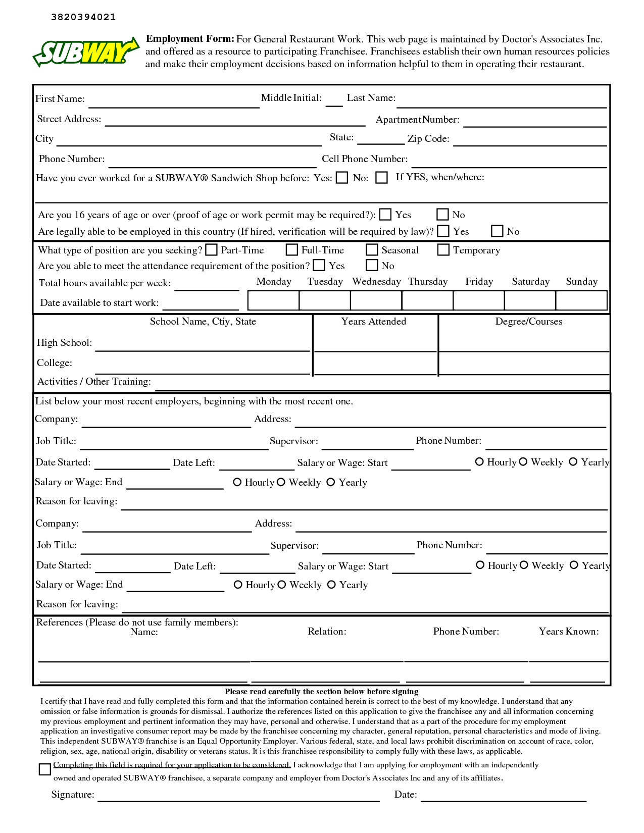 Subway Job Application Pdf