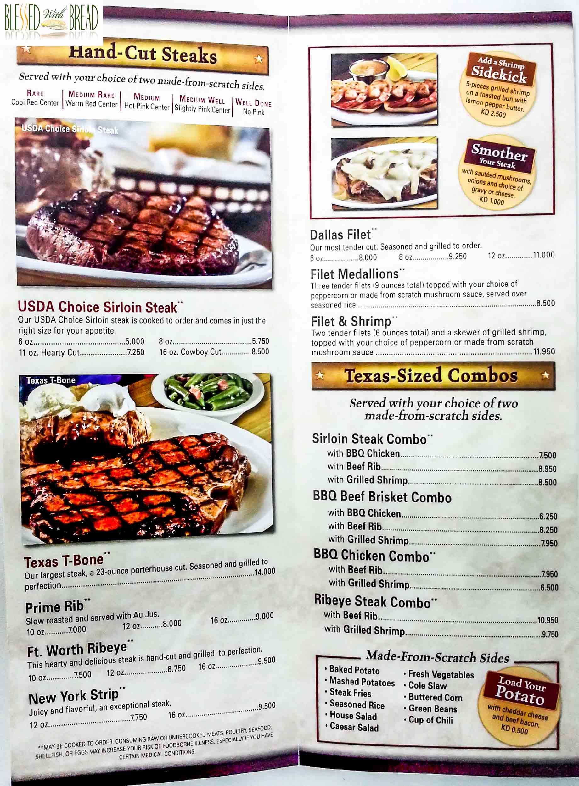 Texas Roadhouse Menu Pdf 2019