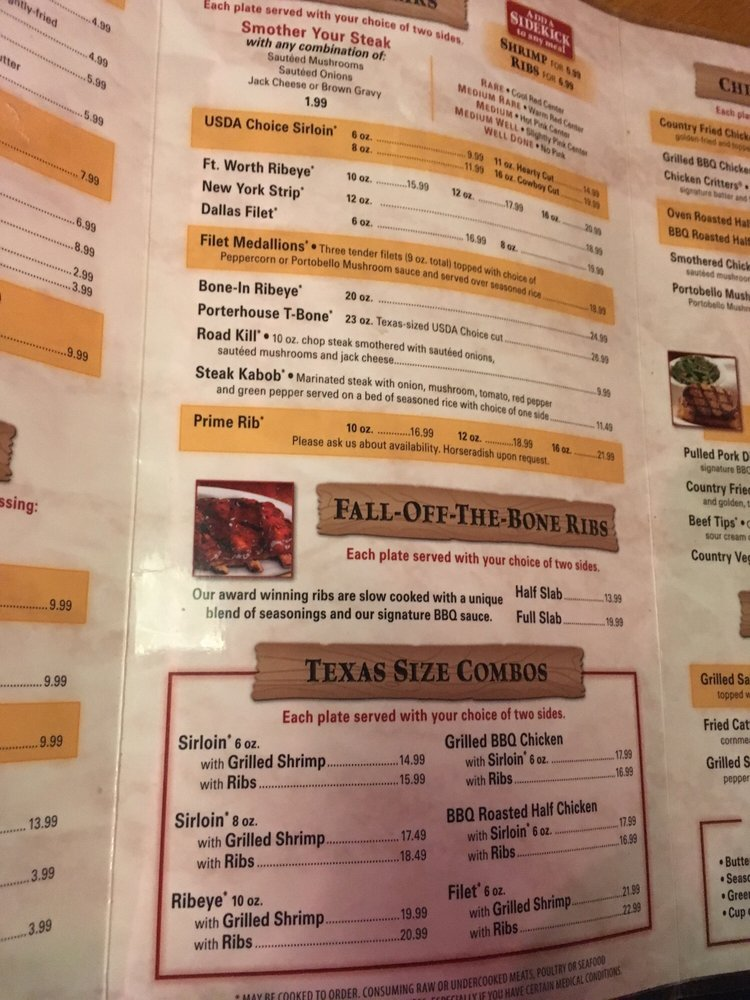 Texas Roadhouse Menu Pdf 2020