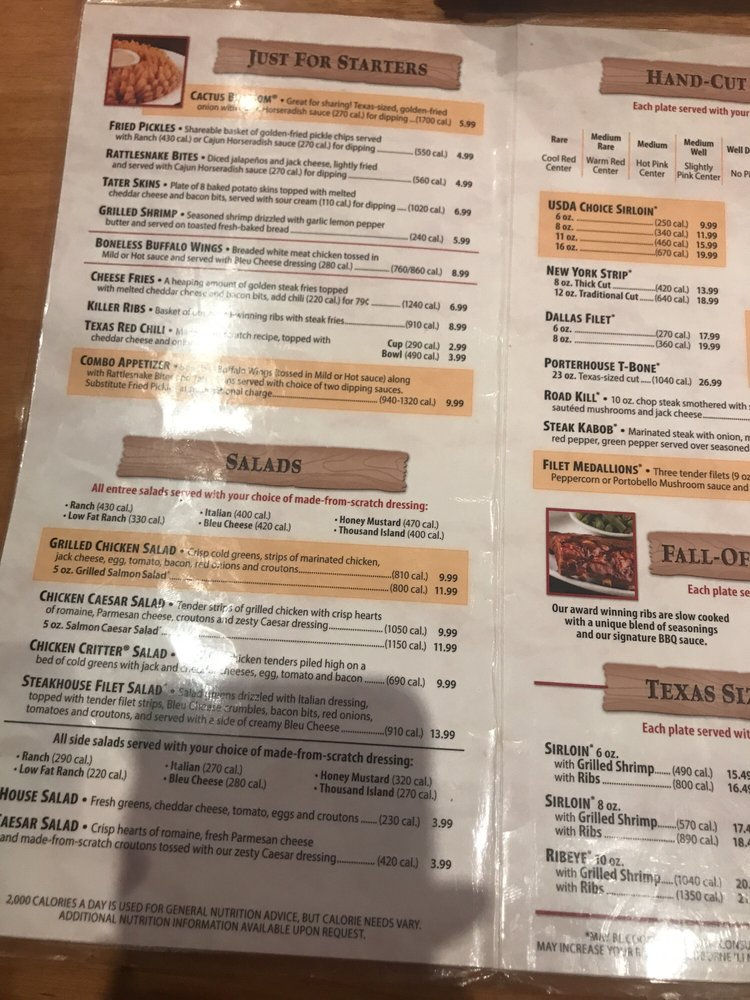 Texas Roadhouse Menu Pdf