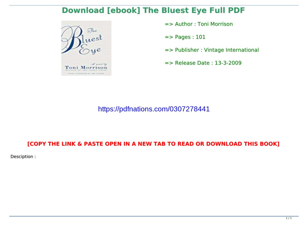 The Bluest Eye Pdf Full Text