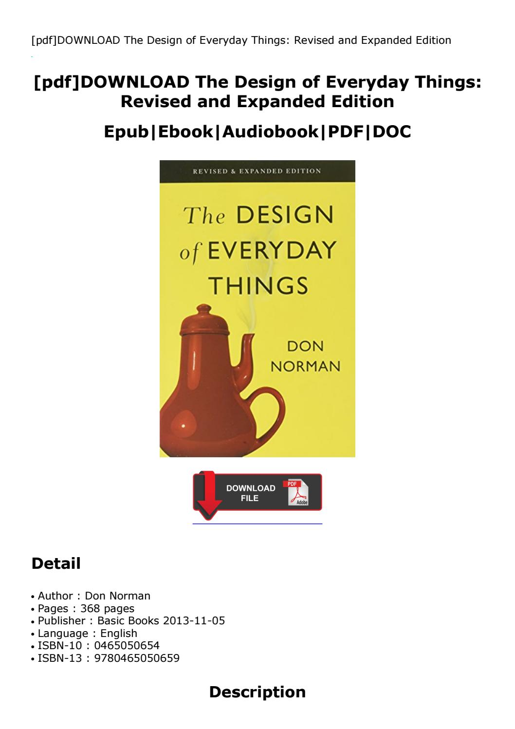 The Design Of Everyday Things Pdf 2013