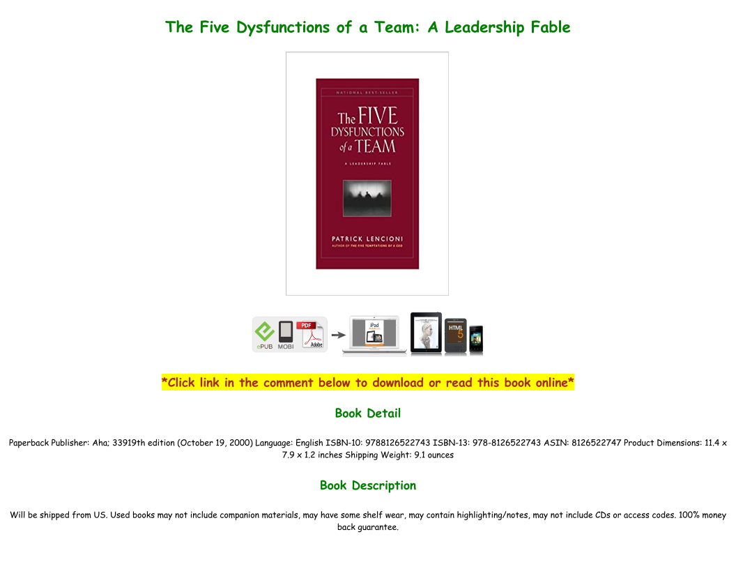 The Five Dysfunctions Of A Team Pdf Book