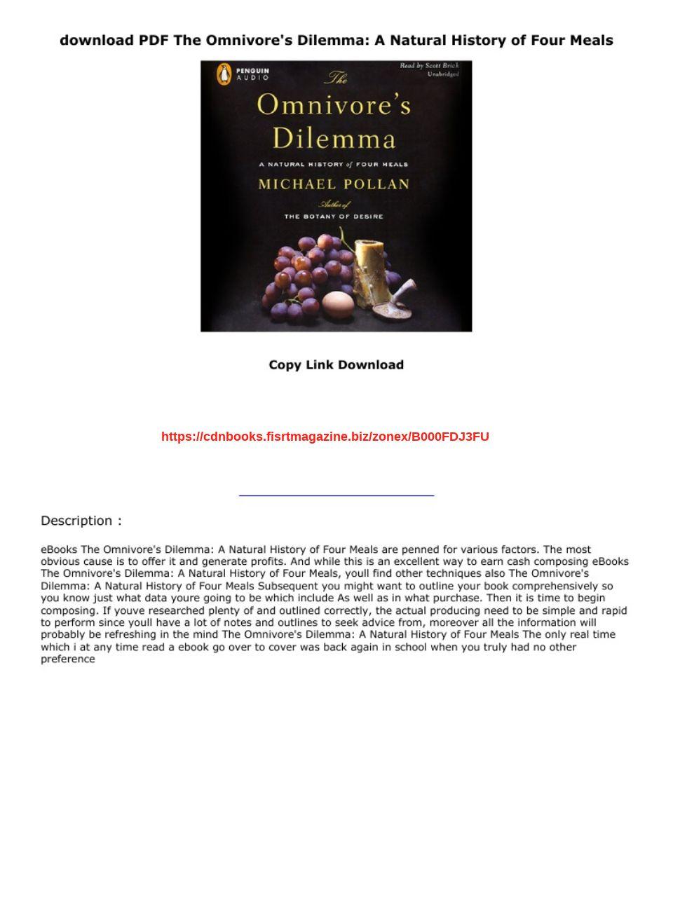 The Omnivore's Dilemma Pdf