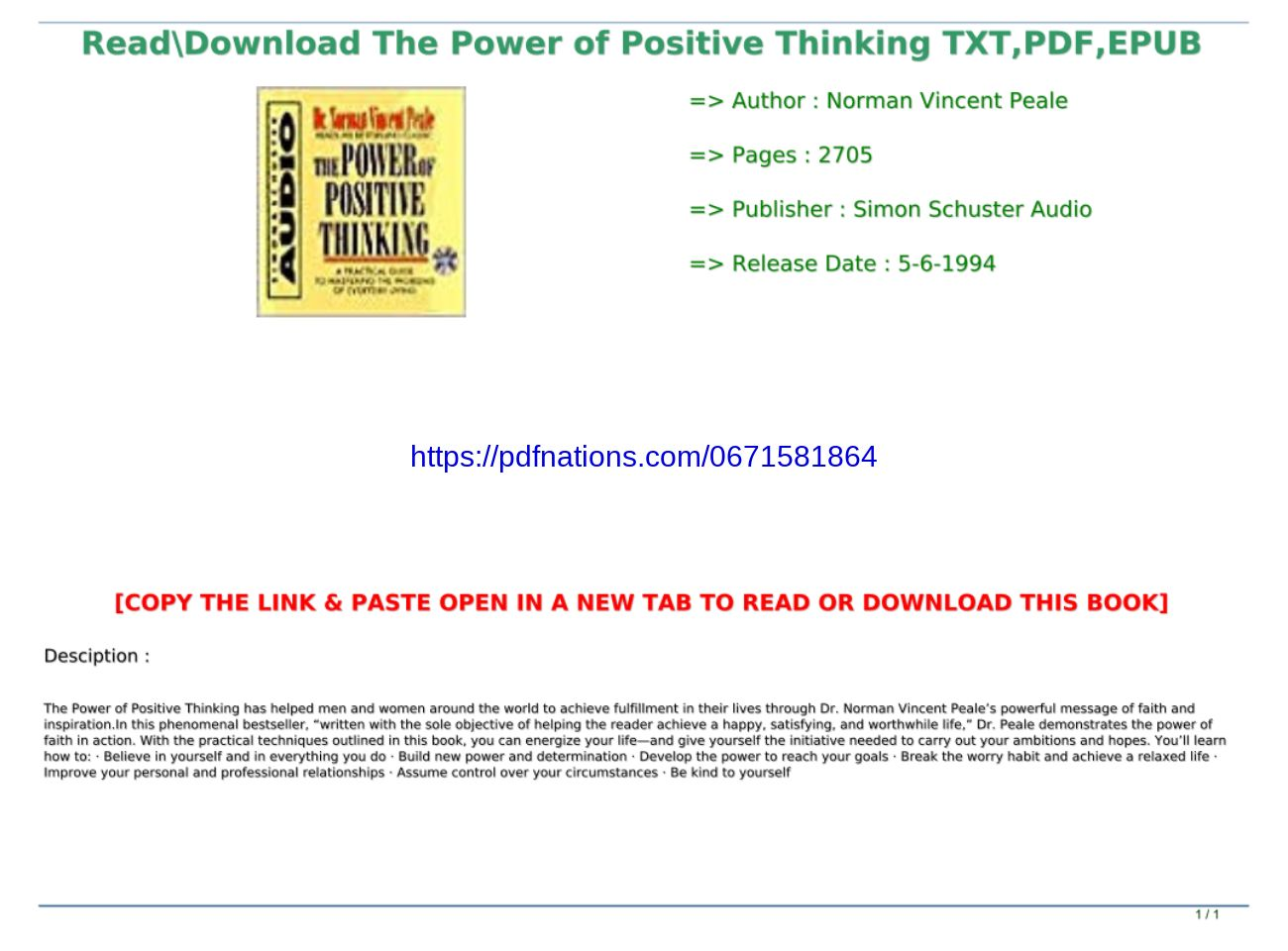 The Power Of Positive Thinking Pdf Download