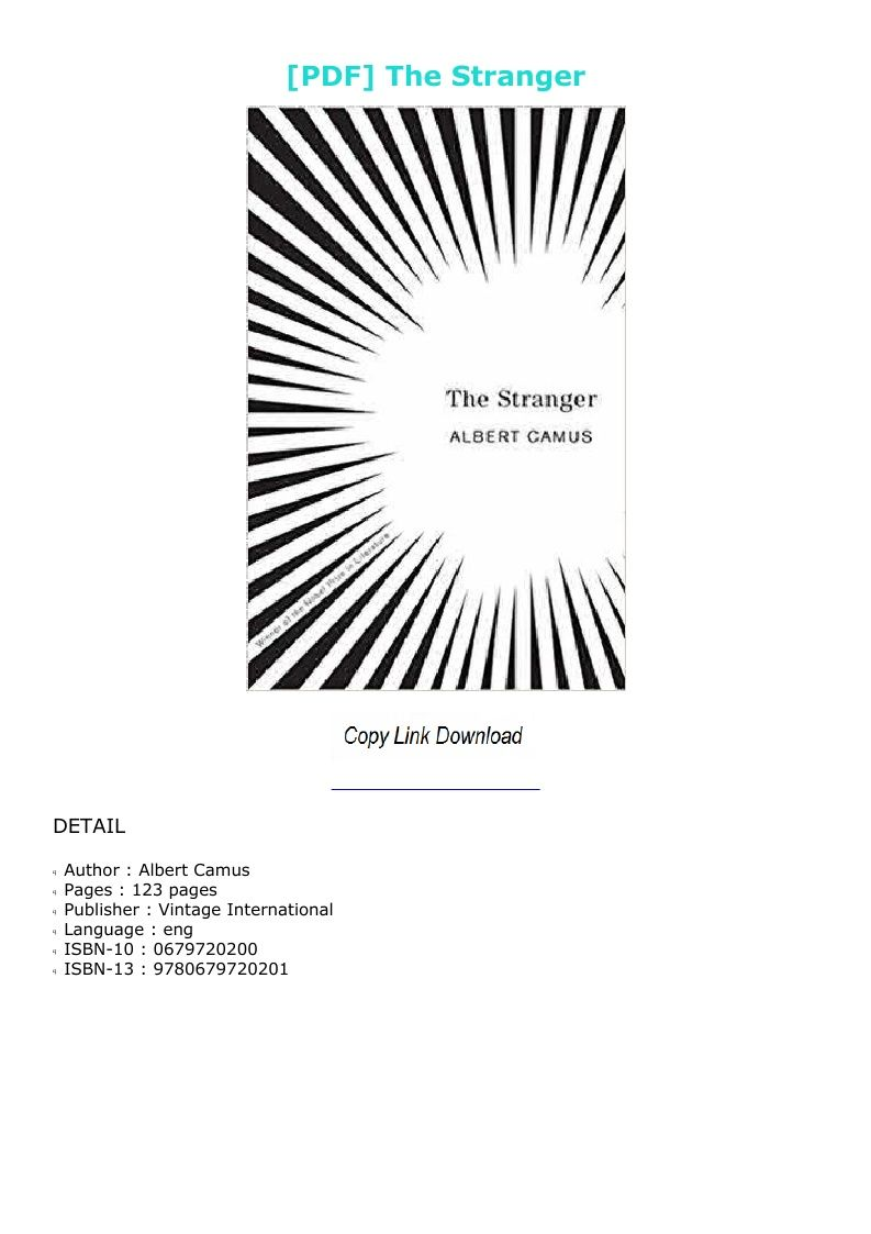 The Stranger Albert Camus Pdf French