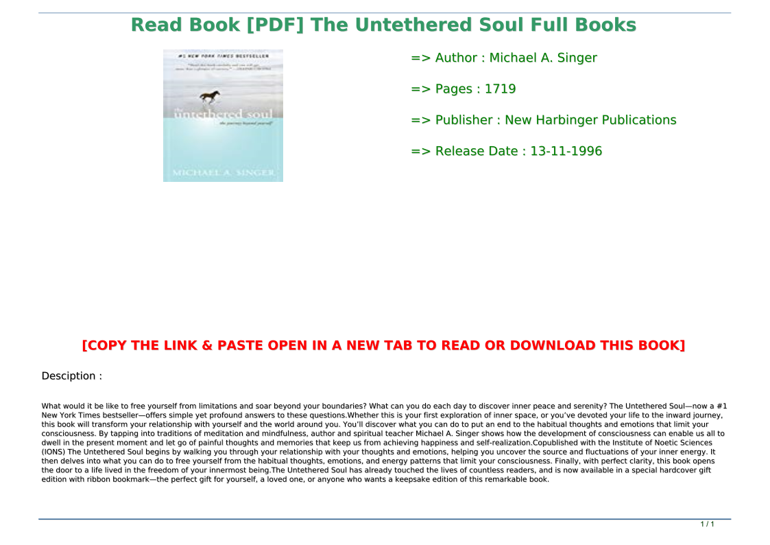 The Untethered Soul Pdf Book
