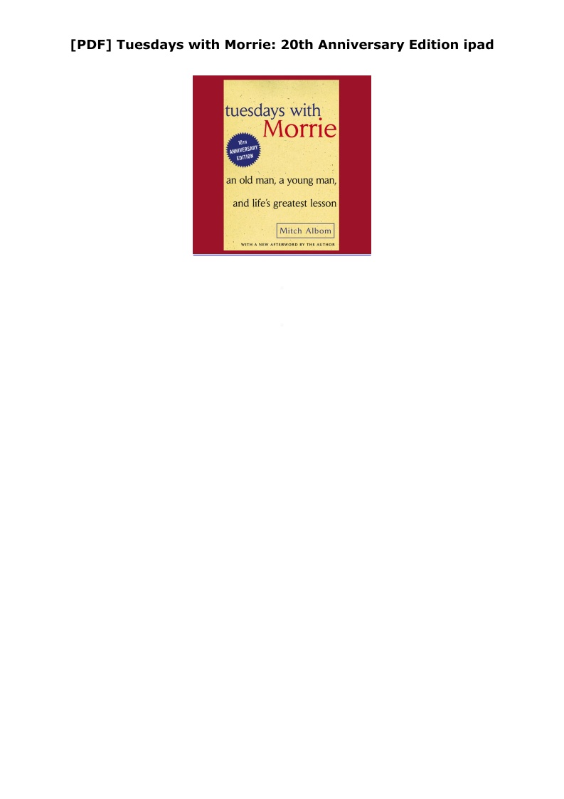 Tuesdays With Morrie Pdf Text