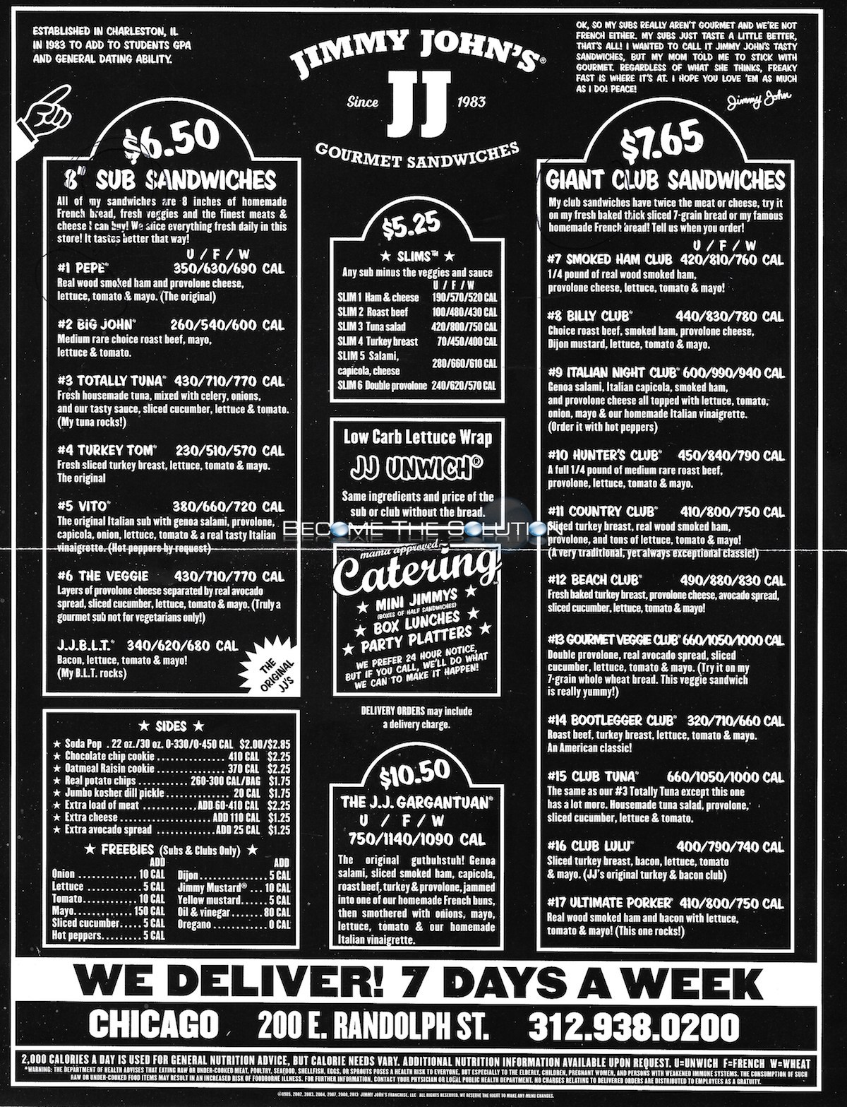 Unwich Jimmy Johns Menu Pdf