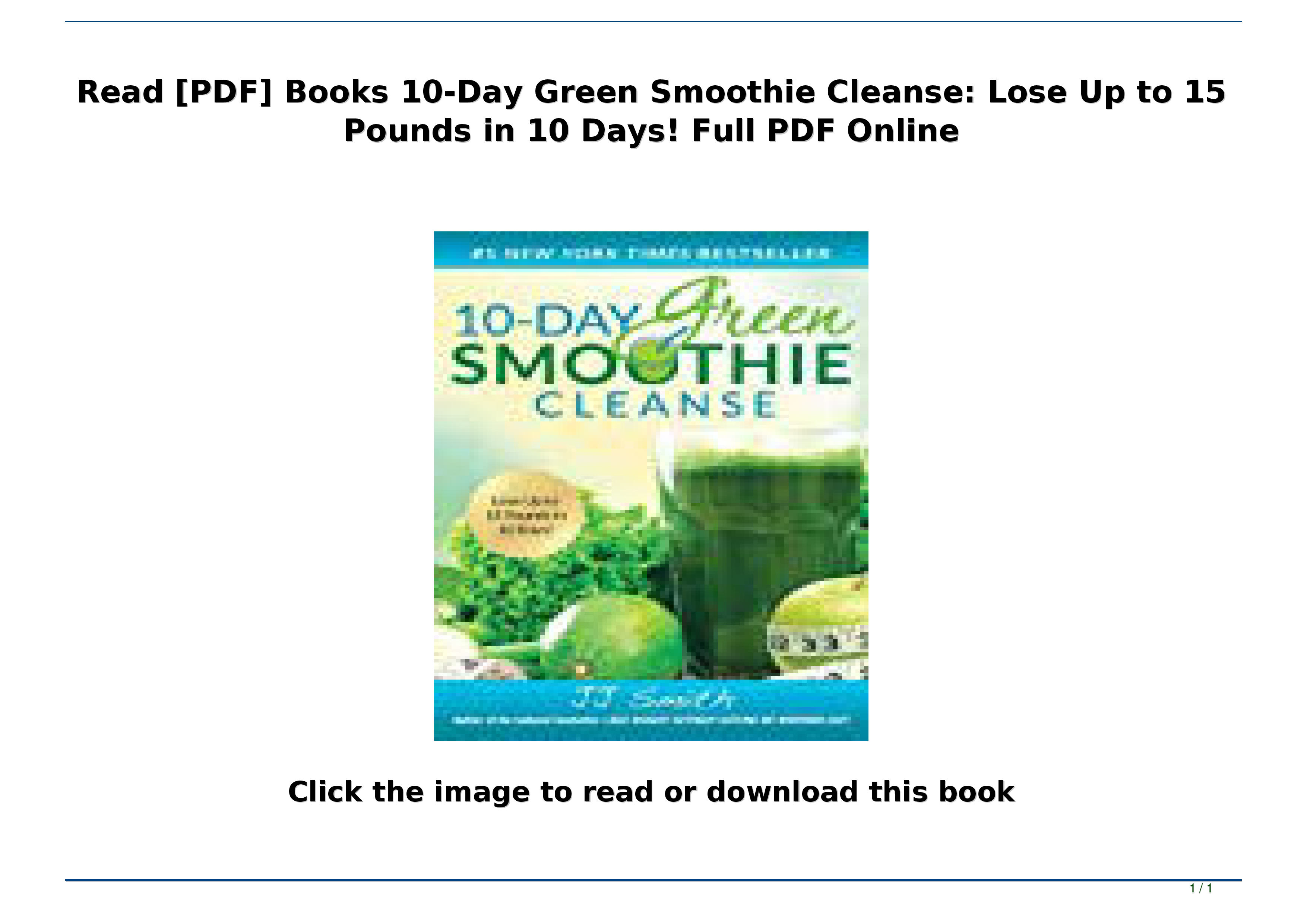 10 Day Smoothie Cleanse Pdf
