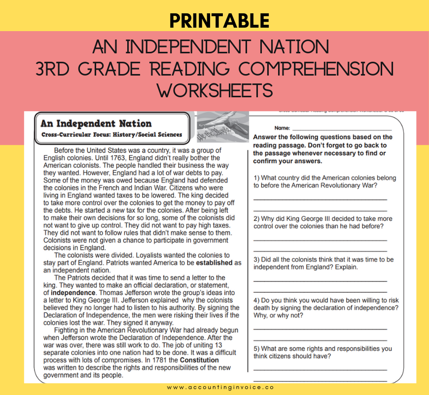 3rd Grade Reading Comprehension Worksheets For Grade 3 Pdf