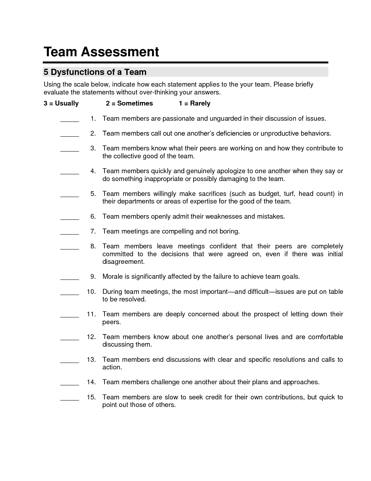 5 Dysfunctions Of A Team Exercises Pdf