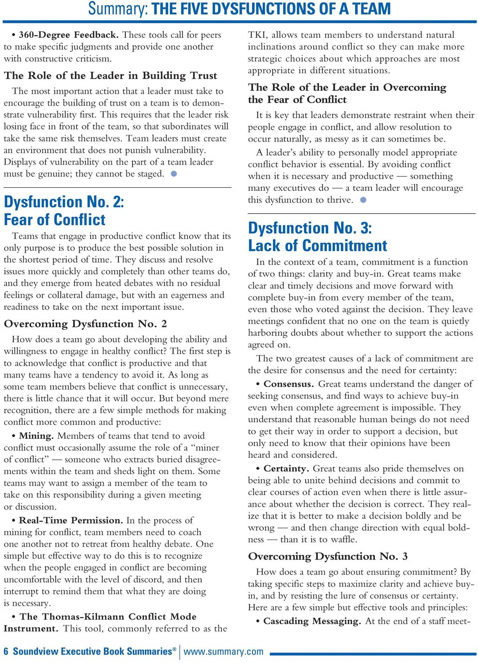 5 Dysfunctions Of A Team Summary Pdf