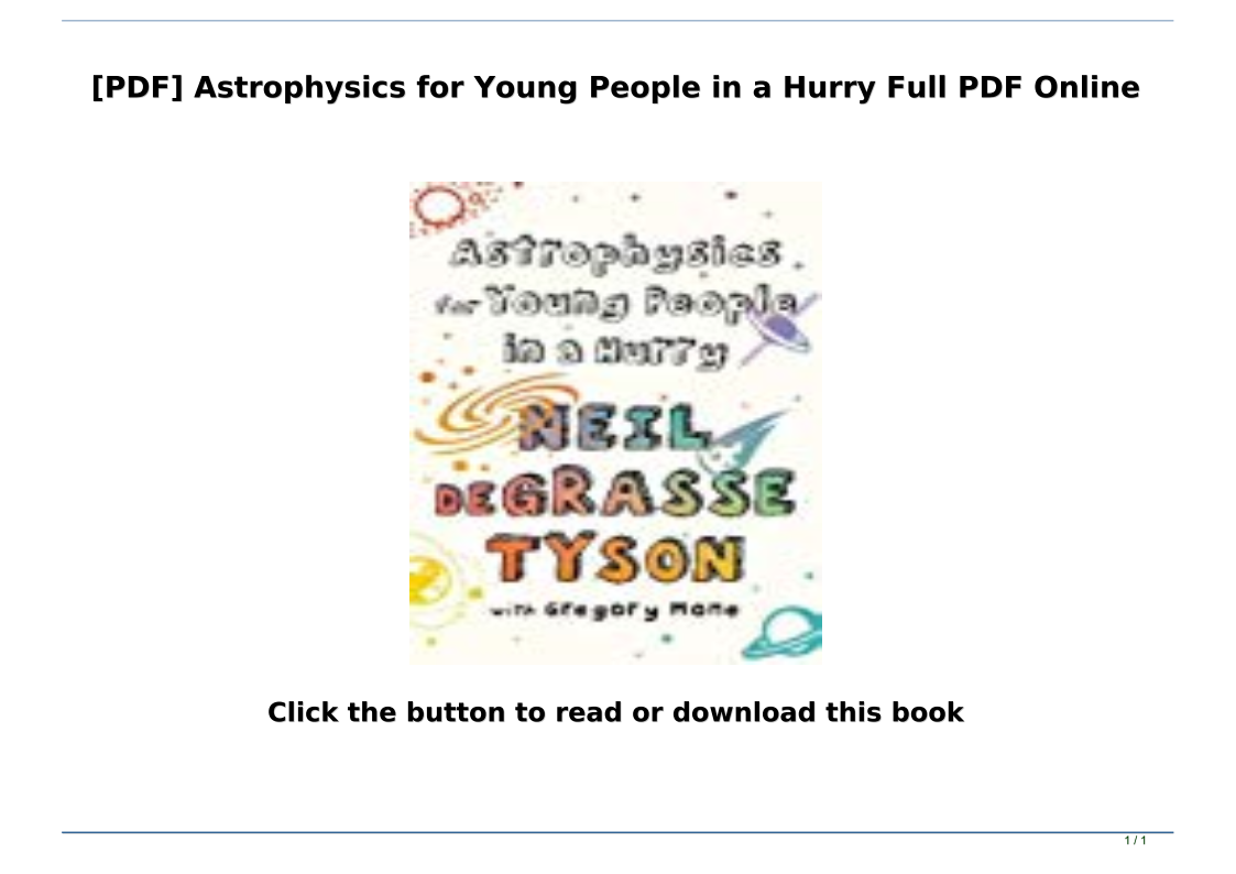 Astrophysics For Young People In A Hurry Pdf