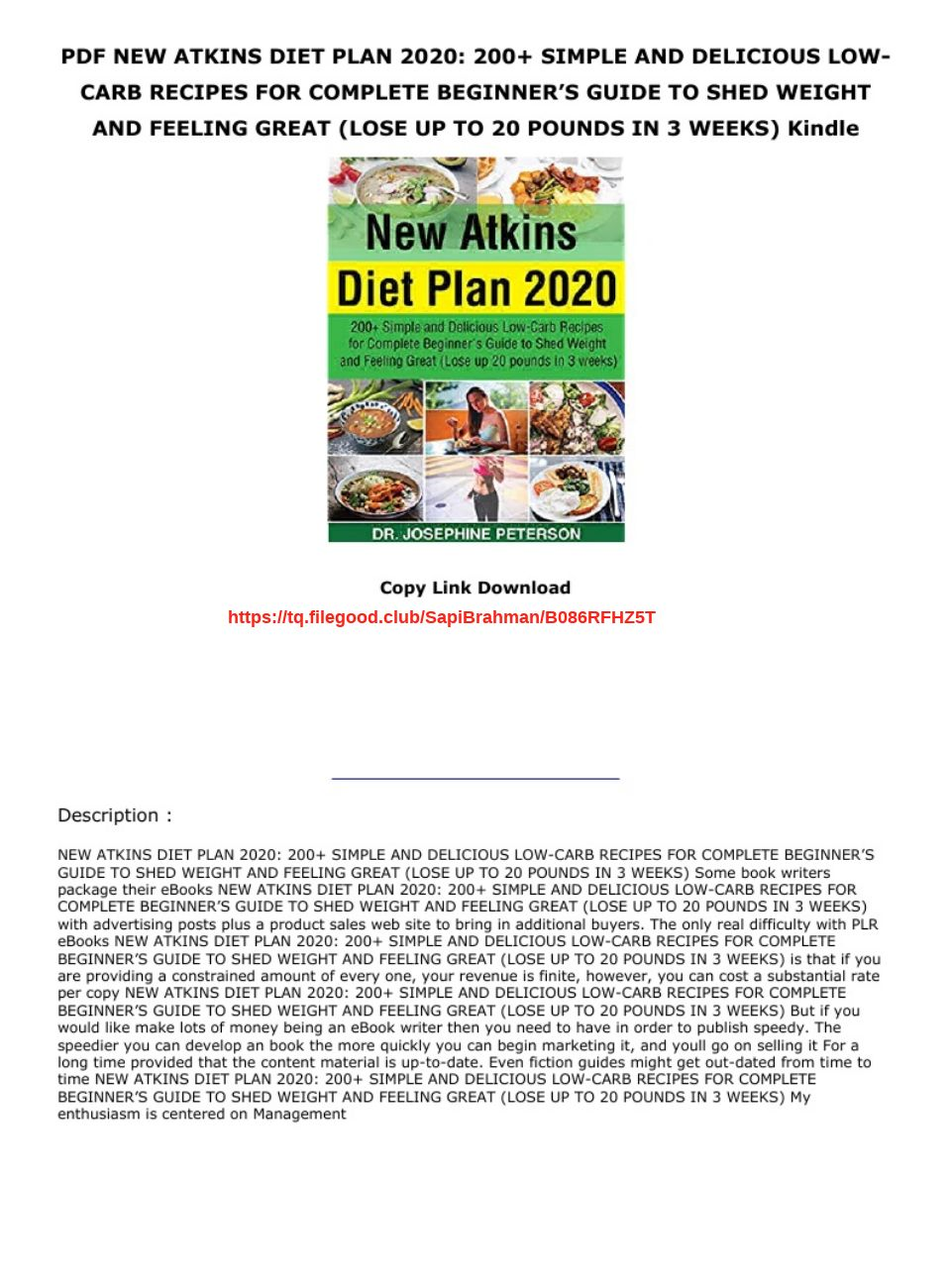 Atkins Diet Plan Pdf