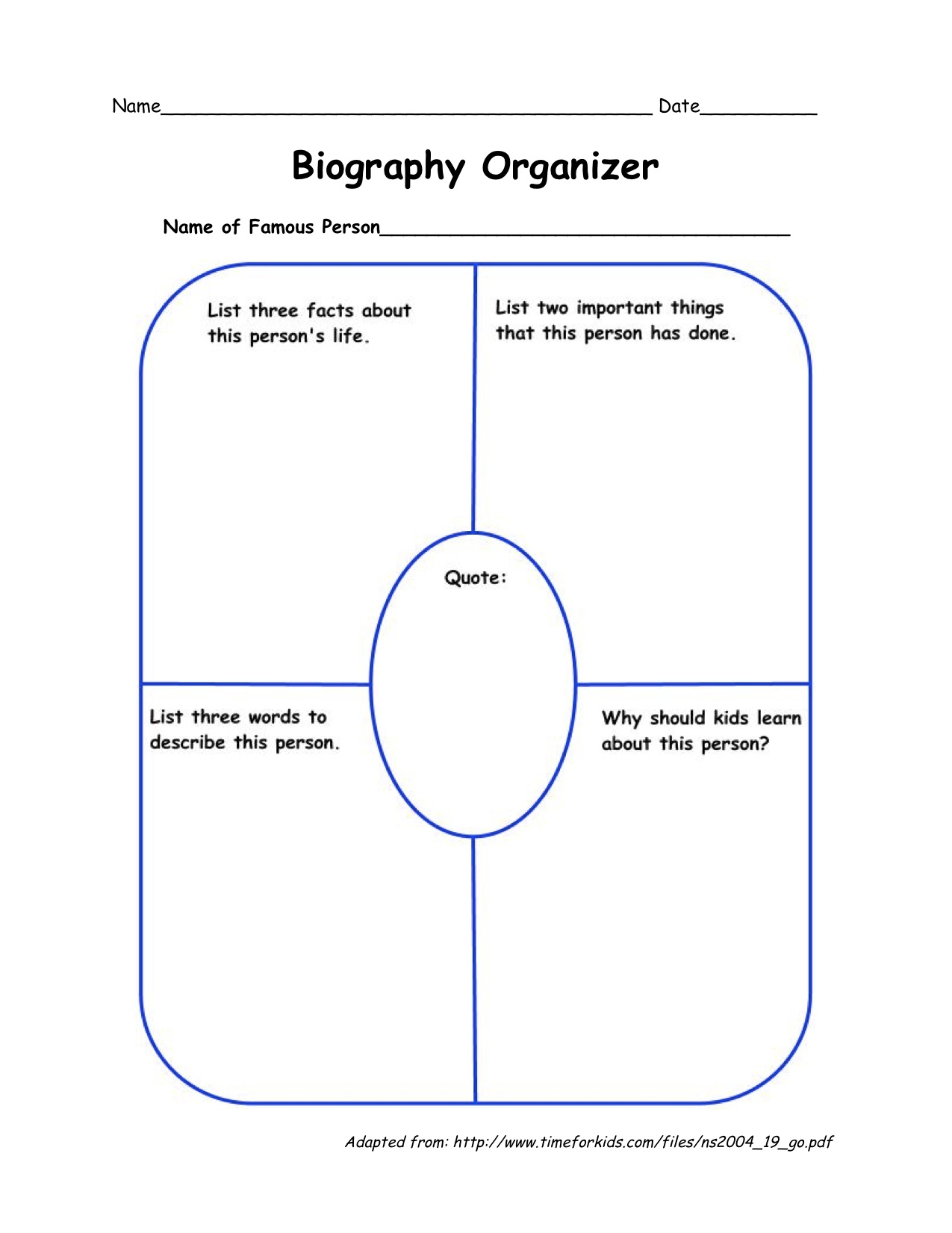Biography Worksheet Short Biography Template Pdf