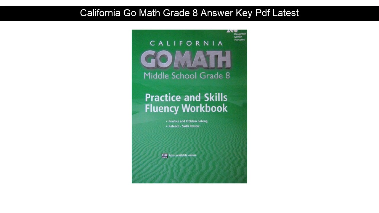 California Go Math Grade 8 Answer Key Pdf