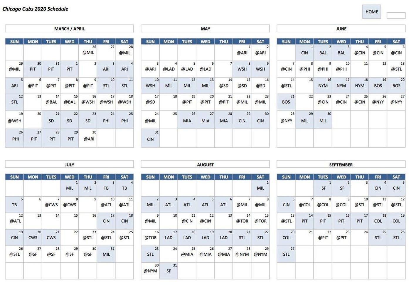 Cubs 2018 Schedule Pdf