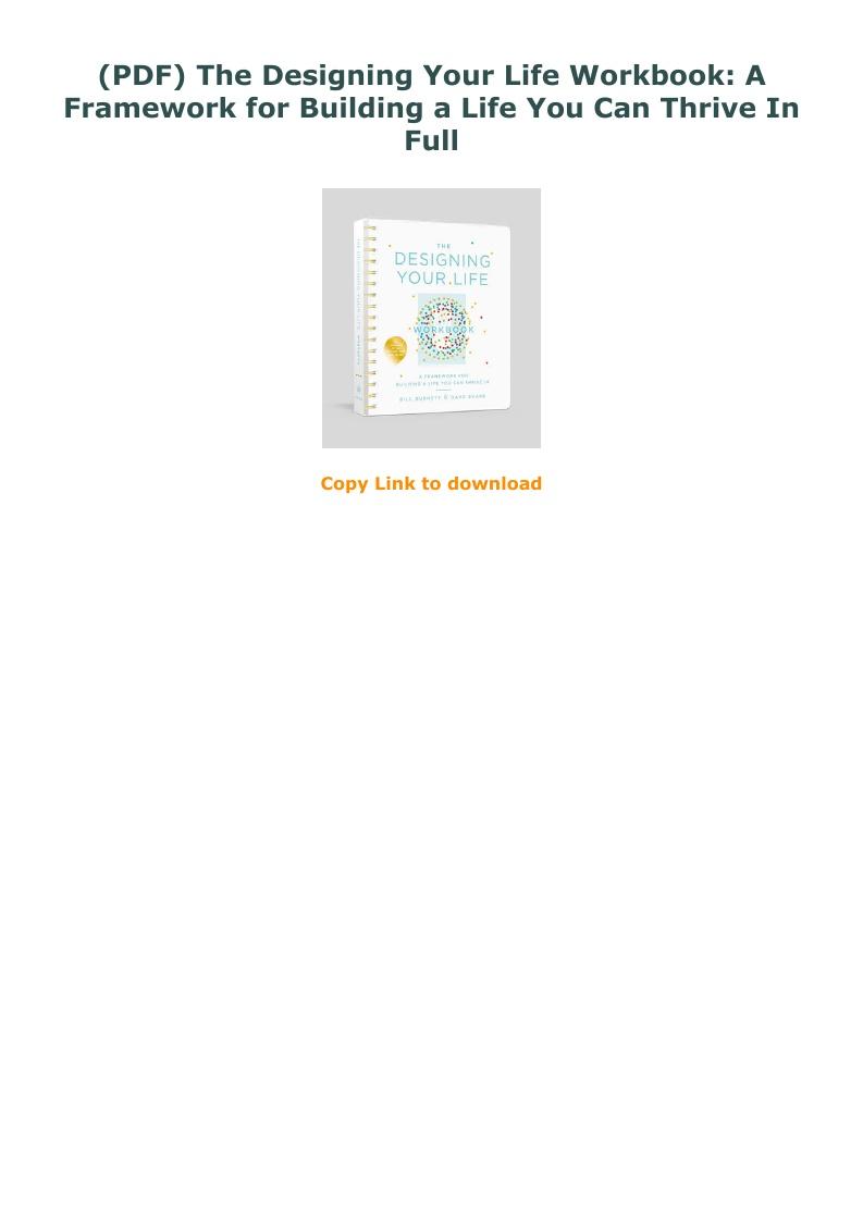 Designing Your Life Workbook Pdf