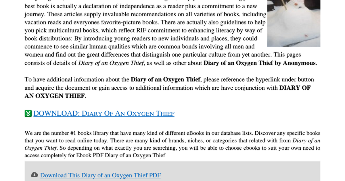 Diary Of An Oxygen Thief Pdf