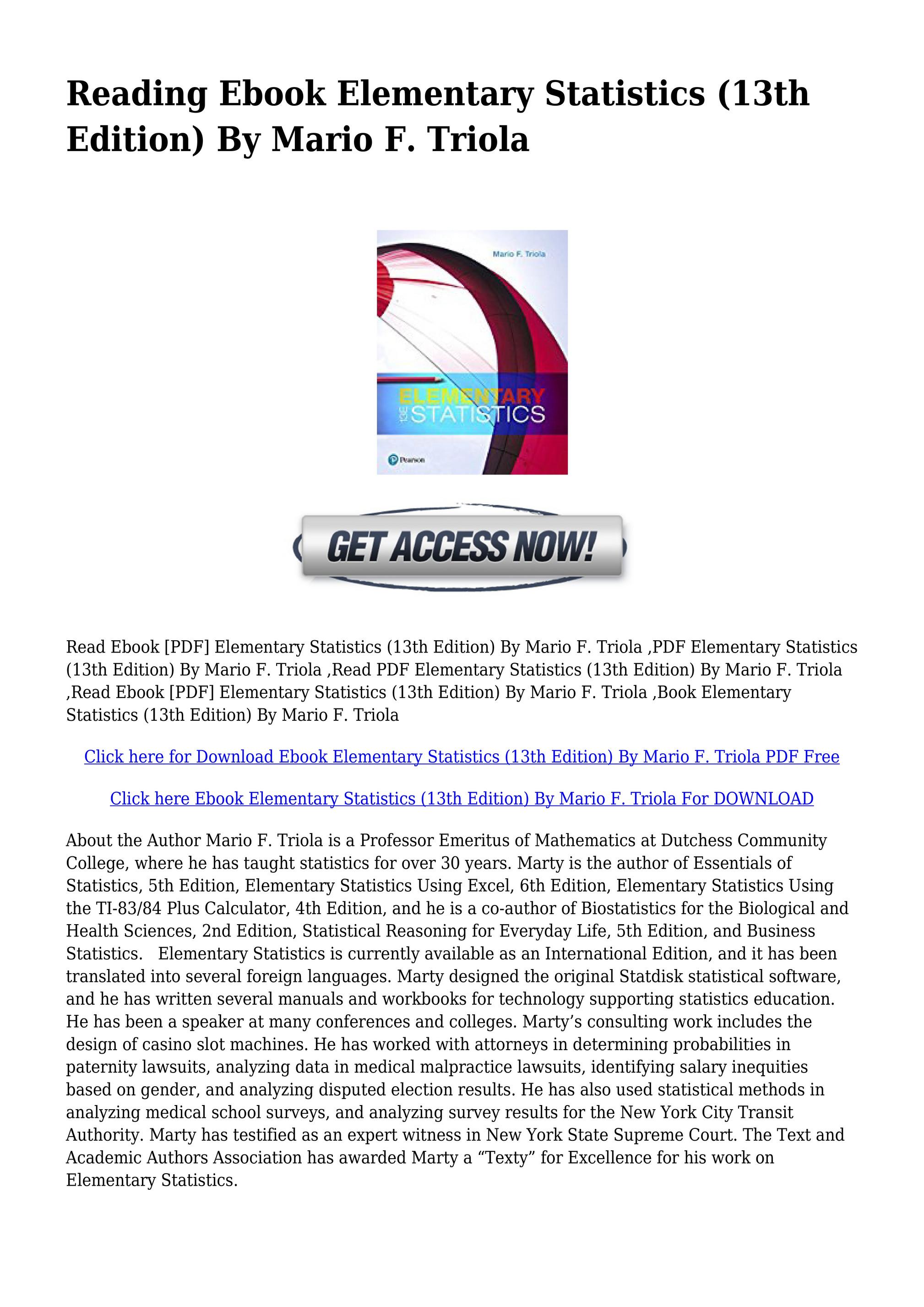 Elementary Statistics 13th Edition Pdf
