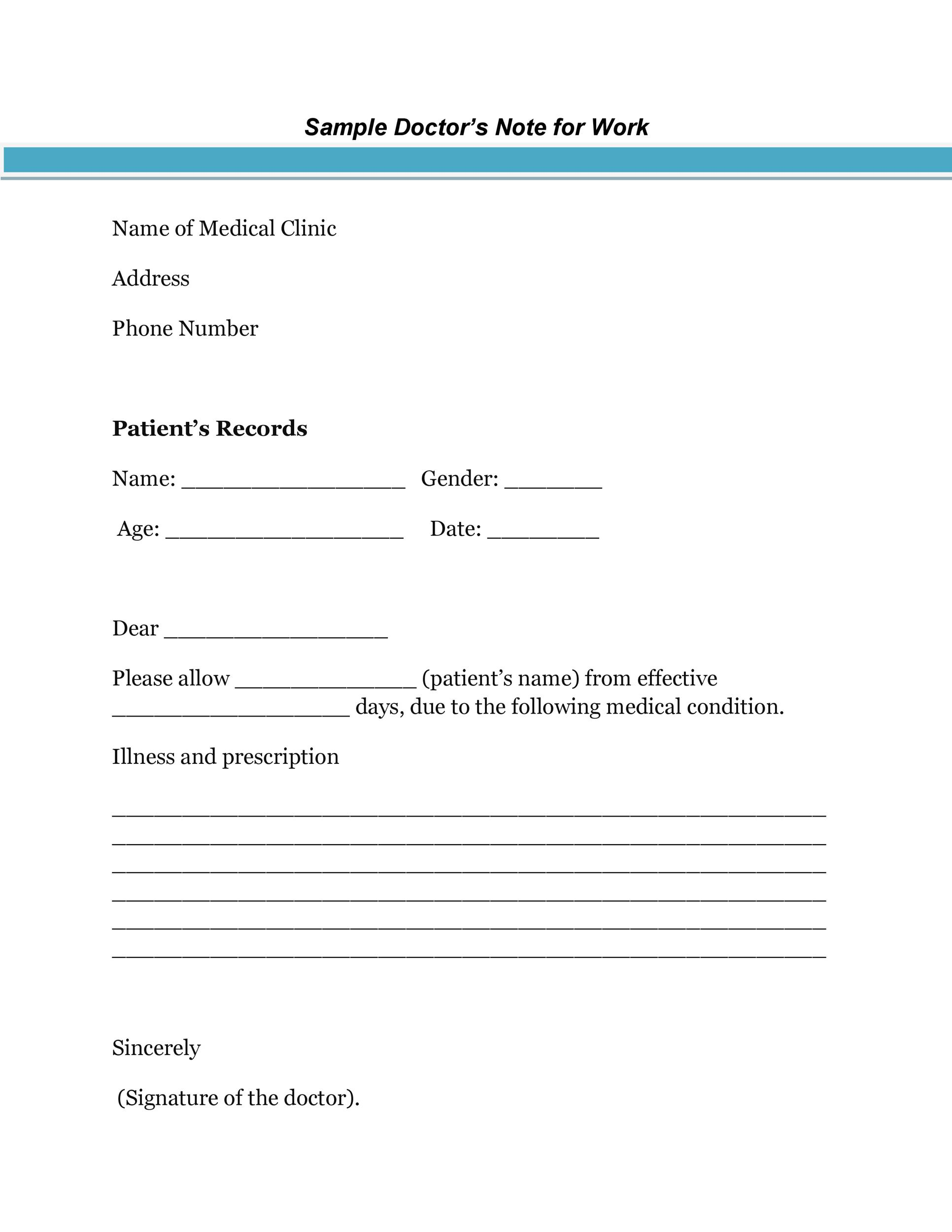 Excuse Free Printable Doctors Note For Work Pdf