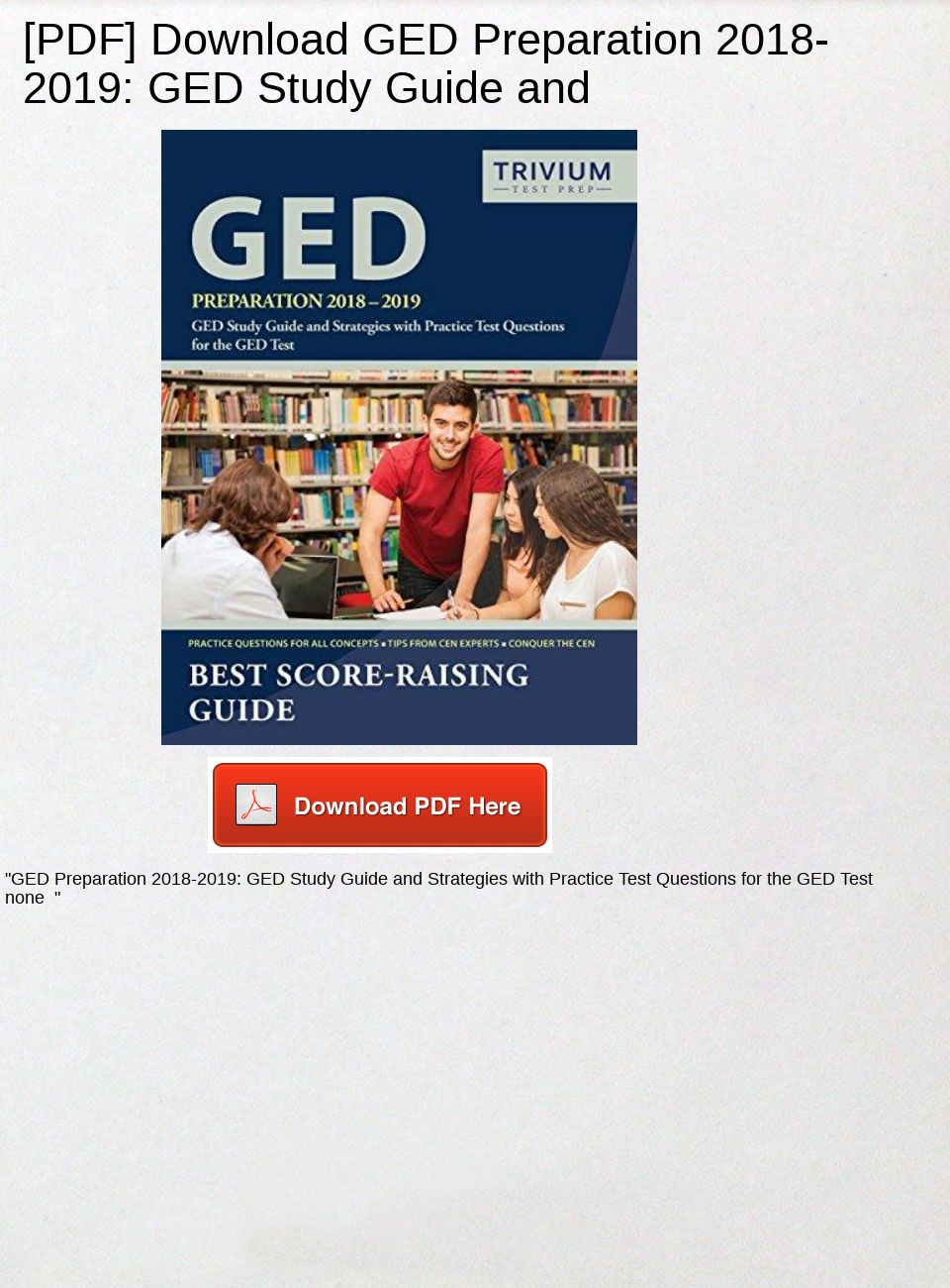 Ged Study Guide Pdf