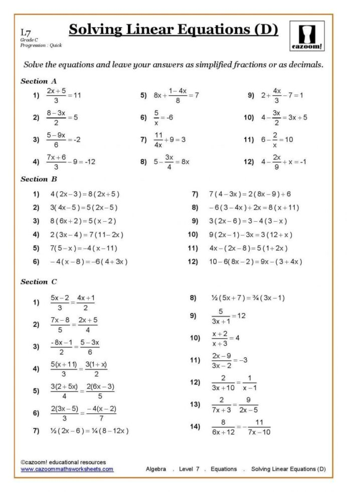 Grade 7 Printable 7th Grade Math Worksheets Pdf